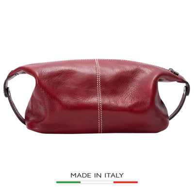 Alberto Bellucci Italian Leather Milano Toiletry Travel Dopp Kit Case in Red