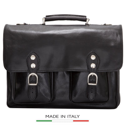 Alberto Bellucci Milano Italian Leather Parma Express Messenger Satchel Bag in Black