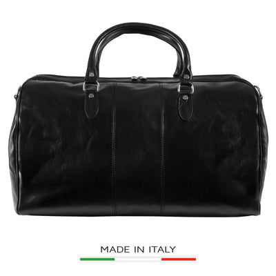 Alberto Bellucci Milano Italian Leather Verona Full Zip Around Traveler Duffel Bag in Black