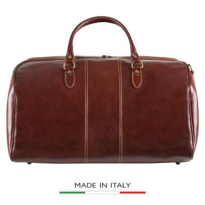Alberto Bellucci Milano Italian Leather Verona Full Zip Around Traveler Duffel Bag in Brown