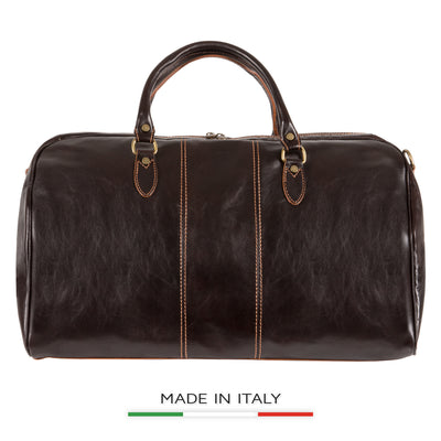 Alberto Bellucci Milano Italian Leather Verona Full Zip Around Traveler Duffel Bag in Dark Brown