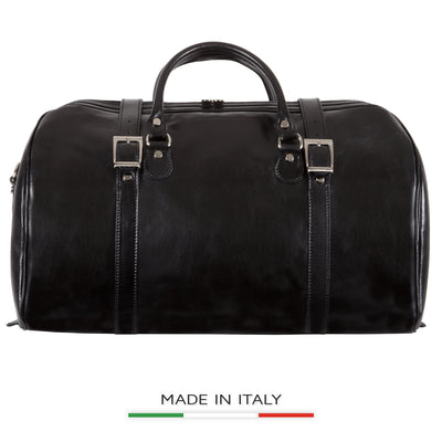 Alberto Bellucci Italian Leather Torino Carry-on Tourist Duffel Bag in Black