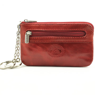 Tony Perotti Italian Leather Zippered Keychain Case Pouch w/ Double Ring, Red