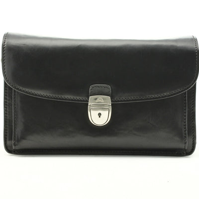 Tony Perotti Italian Leather Horizontal Compact Mini Briefcase in Black