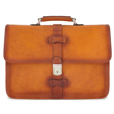 Pratesi Italian Leather Pratomagno Mens Leather Briefcase, Bruce Cognac