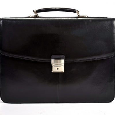 Tony Perotti Parma Double Compartment Leather Laptop Briefcase in Black