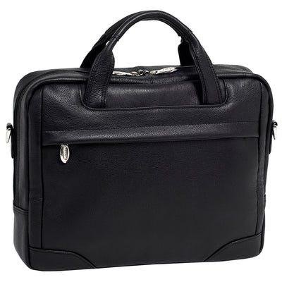 "McKlein Mens BRIDGEPORT 15.6"" Leather Large Laptop Brief in Black"