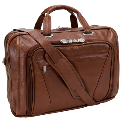 "McKlein Mens IRVING PARK 15.6"" Leather Double Compartment Laptop Case"
