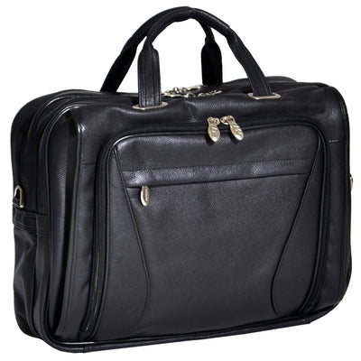 "McKlein Mens IRVING PARK 15.6"" Leather Double Compartment Laptop Case in Black"