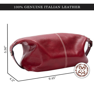 Alberto Bellucci Milano Italian Leather Milano Toiletry Travel Dopp Kit Case