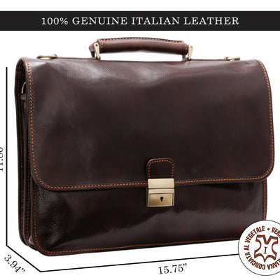 Alberto Bellucci Milano Italian Leather Padova Double Compartment Laptop Messenger Bag