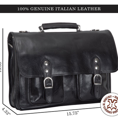 Alberto Bellucci Milano Italian Leather Parma Express Messenger Satchel Bag
