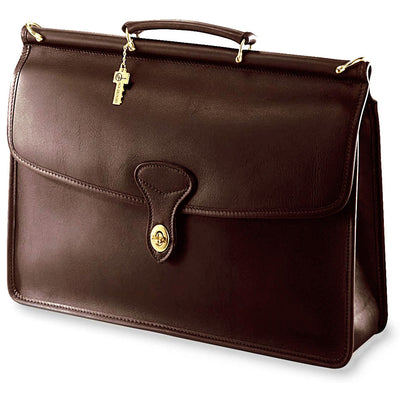 Jack Georges University Single Gusset Flap Over Leather Briefcase
