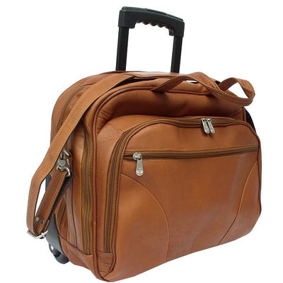 Piel leather Rolling Laptop Briefcase, Office on Wheels Case