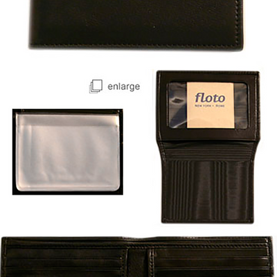 Floto Mens Leather Passcase I.D. Wallet in Black