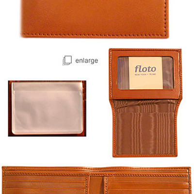 Floto Mens Leather Passcase I.D. Wallet in Tan