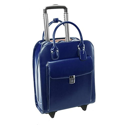 "McKlein USA Uptown Navy 15.6"" Leather Vertical Wheeled Ladies' Briefcase (97697)"