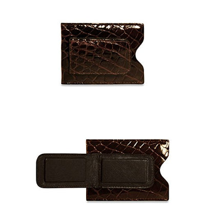 Jack Georges Alligator Card Holder with Money Clip Black