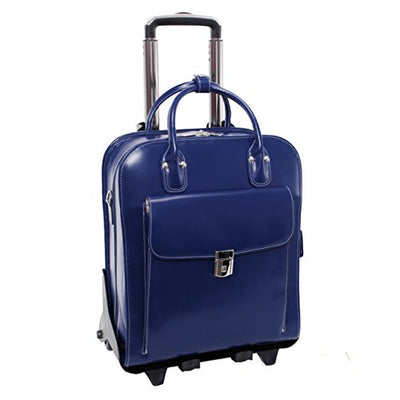 "McKlein USA LA Grange Navy 15.6"" Leather Vertical Detachable, Wheeled Ladies' Briefcase (96497)"