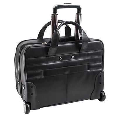 "Mcklein USA Bowery Leather Wheeled Laptop Briefcase, 15.6"", Black - 87855"