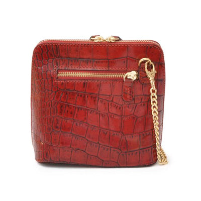 Pratesi Womens Italian Leather Volterra King Croco Small Crossbody Clutchbag