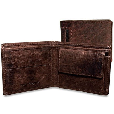 Jack Georges Spikes & Sparrow Bi-Fold Wallet with Coin Pocket in Brown