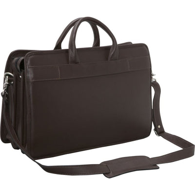 Jack Georges Platinum Triple Gusset Top Zip Leather Briefcase