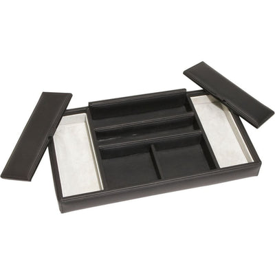 ROYCE Luxury Dresser Valet Tray in Genuine Leather with Suede Lining