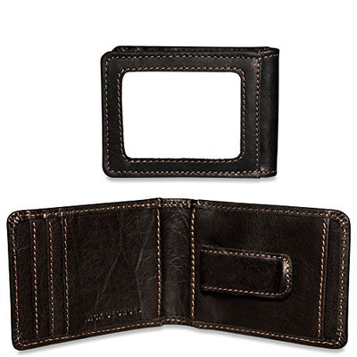 Jack Georges Voyager Bi-Fold Leather Wallet w/ Money Clip in Black