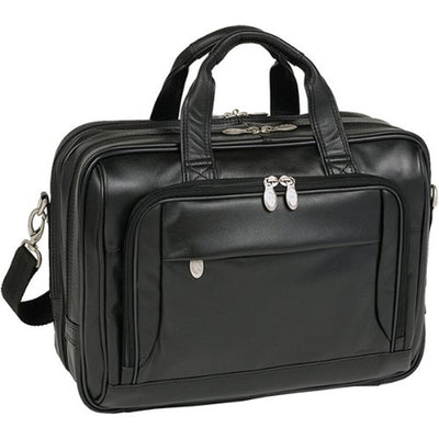 "[Custom] Mcklein 17"" West Loop Black Leather Expandable Double Compartment Briefcase 44575"