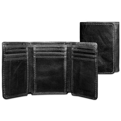 Jack Georges Voyager Tri-Fold Wallet in Black
