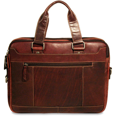 Jack Georges Voyager Collection Double Entry Top Zip Briefcase in Brown