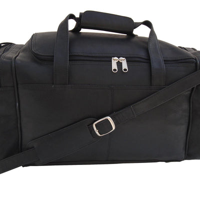 Piel Leather Small Duffel Bag in Black