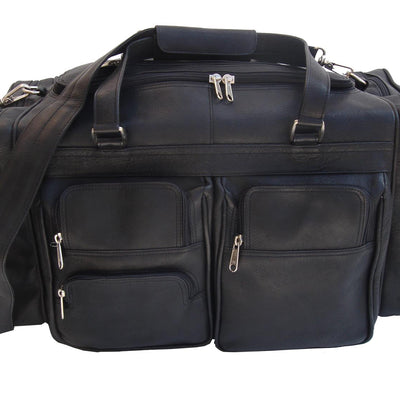 "Piel Leather 20"" Duffel Bag with Pockets in Black"