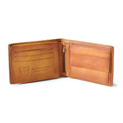 Pratesi Mens Italian Leather Bruce Cappella Brancacci Bifold Wallet with ID Window Flap and Coin Pocket