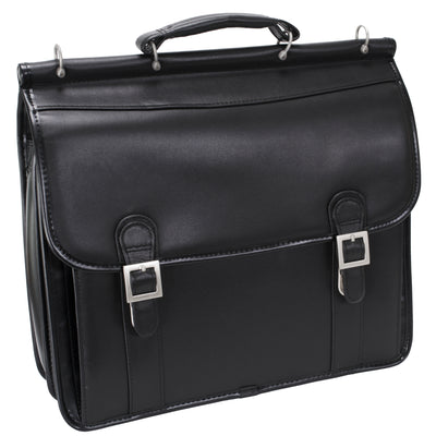 "McKlein Mens HALSTED 15.6"" Double Compartment Laptop Case in Black"