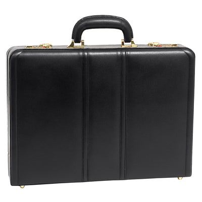 McKlein Mens DALEY Leather Attache Case in Black