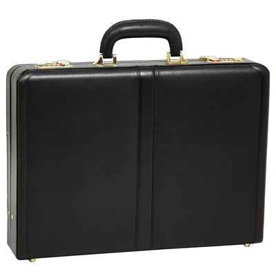McKlein Mens REAGAN Leather Attache Case in Black