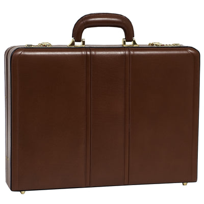 McKlein Mens COUGHLIN Leather Expandable Attache Case in Brown