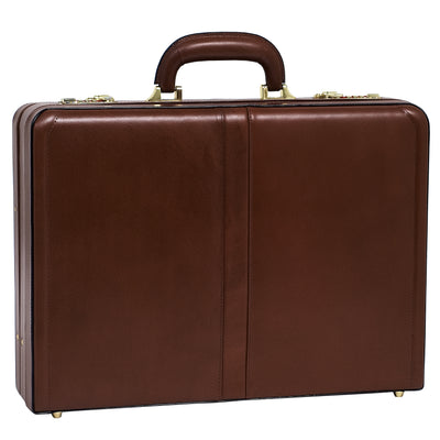 McKlein Mens HARPER Leather Expandable Attache Case in Brown