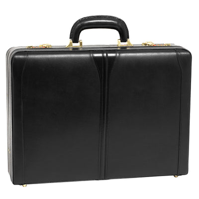 McKlein Mens TURNER Leather Expandable Attache Case in Black