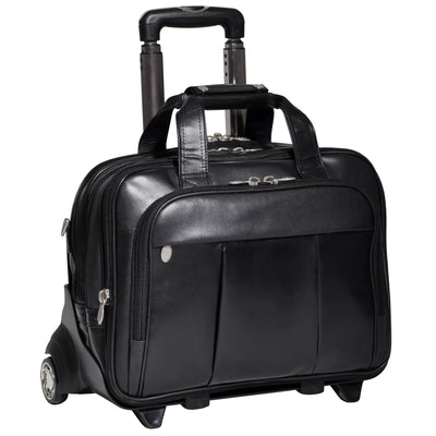 "[Custom] McKleinUSA Damen 17"" Leather Patented Detachable -Wheeled Laptop Briefcase in Black"