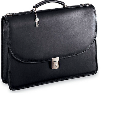 Jack Georges Platinum Single Gusset Flap Leather Briefcase in Black