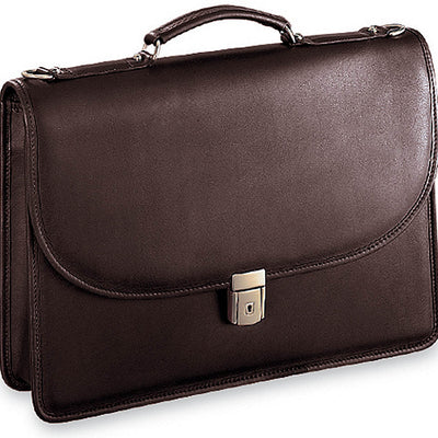 Jack Georges Platinum Single Gusset Flap Leather Briefcase