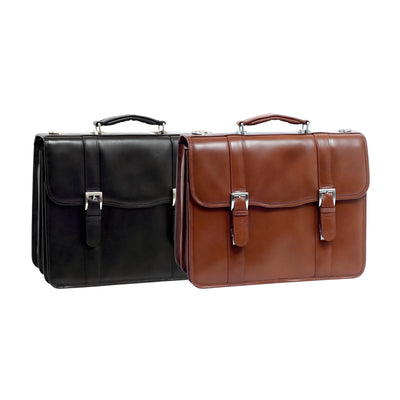 "McKlein Mens FLOURNOY 15.6"" Leather Double Compartment Laptop Case"