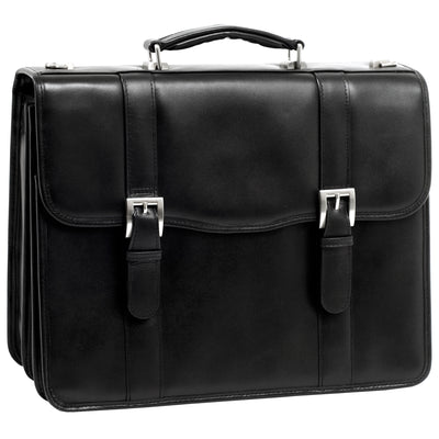 "McKlein Mens FLOURNOY 15.6"" Leather Double Compartment Laptop Case in Black"