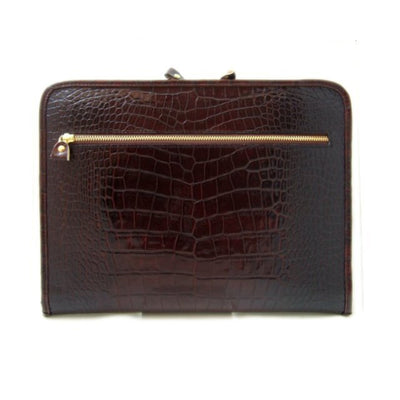 Pratesi Italian Leather Dante - Portfolio for block-notes in Italian Crocco Leather, Dark Brown Croco