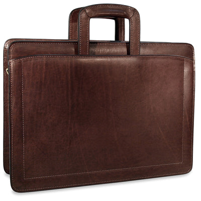 Jack Georges Belting Triple Gusset Top Zip Leather Briefcase