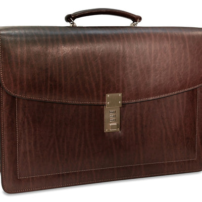 Jack Georges Belting Double Gusset Leather Briefcase w/Combination Lock