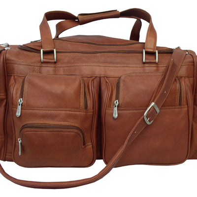 "Piel Leather Traveler 24"" Duffel Bag with Pockets"